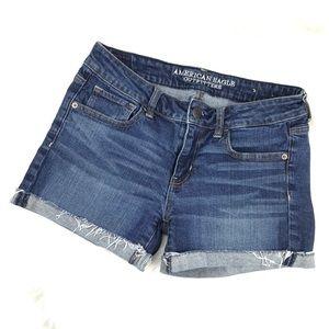 American Eagle Stretch Denim Cuffed Jean Shorts
